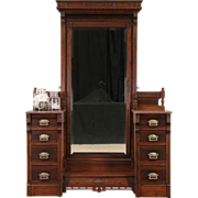 Victorian Eastlake Marble Top 1880 Antique Dressing Table & Mirror
