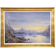 "Fjord Sunset & Fishing Boat, Original 1940's Scandinavian Oil Painting, 45"" wide"