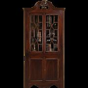 Traditional 1930's Vintage Georgian Mahogany Corner Cabinet, Glass Doors