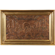 Last Supper 1900 Antique Copper Relief, Gold Leaf Frame