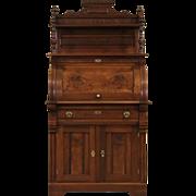 Victorian Eastlake 1880 Antique Cylinder Roll Top Secretary Desk