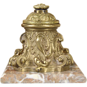 Inkwell, French 1880 Marble & Brass Antique