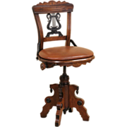 Swivel 1880 Eastlake Antique Musician Chair or Piano Stool, Leather