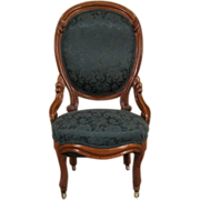 Victorian 1850's Antique Carved Walnut Balloon Back Chair