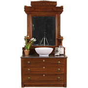 Victorian Eastlake 1885 Antique Marble Top Chest or Dresser & Beveled Mirror