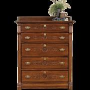 Victorian Eastlake 1885 Antique Ash & Oak Tall Chest or Dresser