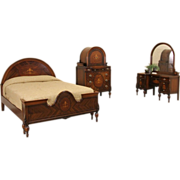 Marquetry 1920's Full Size Antique Bedroom Set, 3 Pc.
