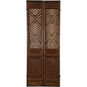 Pair of Carved Chinese Antique 1900 Architectural Salvage Carved Grillwork Doors
