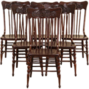 Set of 6 Press Back Carved 1900 Dining Chairs, Spiral Spindles