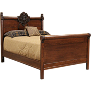 Victorian 1900 Antique North Wind Carved Oak Full Size Bed