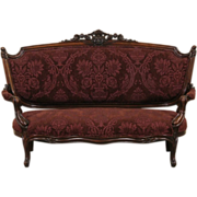 Victorian Renaissance 1870 Antique Carved Walnut Sofa or Settee