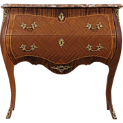Rosewood Marquetry Marble Top 1950 Vintage Scandinavian Chest or Commode