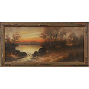 Sunset Original Signed 1900 Pastel or Chalk Drawing