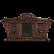 Dutch Carved Faces Antique 1880 Oak Hall Mirror, Coat & Hat Hooks