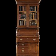 Victorian Eastlake 1885 Antique Oak Cylinder Roll Top Secretary Desk & Bookcase