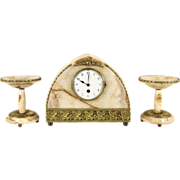 French Art Deco 1920's Antique Marble & Bronze 3 Pc. Clock Set, Tazzas