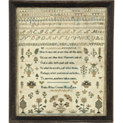 Needlework Stitchery Framed Antique Sampler, Signed and Dated 1838