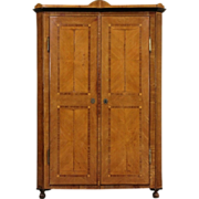 French 1850's Antique Fruitwood Marquetry Armoire, Wardrobe or Closet, Well Worn