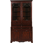 Victorian 1850's Antique Carved Mahogany Secretary Desk & Bookcase