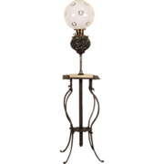 Victorian 1890 Antique Kerosene Adjustable Piano or Organ Lamp, Onyx Base
