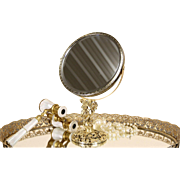 Gold Filigree Vintage Swivel Boudoir Magnifying Mirror
