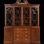 Georgian 1950's Vintage Mahogany Breakfront Bookcase China Cabinet