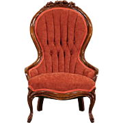 Victorian 1920 Antique Carved Mahogany Chair