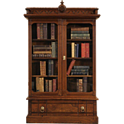 Victorian Eastlake 1880 Antique Walnut Bookcase, Glass Doors