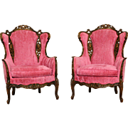Pair of 1950's Vintage Wing Chairs, Lovebird & Cherub Carved Frames