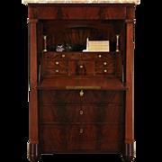 Biedermeier Empire 1860's Marble Top Secretary Desk