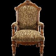 Victorian Renaissance 1870's Antique Carved Walnut Chair