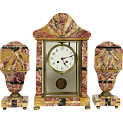 French Art Deco 1920 Antique Red Marble Mantel Clock Set, 2 Urns