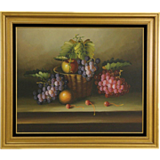 Grapes & Fruit, Vintage Still Life Painting on Canvas