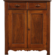 Victorian Walnut 1870 Antique Pantry Jelly Cupboard, Hand Carved Pulls