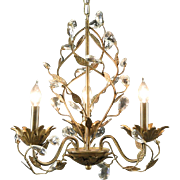 Chandelier, Vintage Hand Wrought with Crystal Prisms