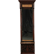 Victorian Carved 1880 Antique Beveled Hall or Foyer Pier Mirror, Marble Shelf