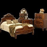 Bedroom Set, Full Size 1930's Vintage Carved Walnut & Burl 3 Pc.