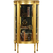 French 1910 Antique Gold Leaf Curved Glass Vitrine Curio Display Cabinet