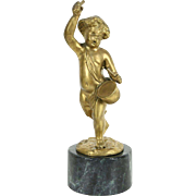 Bronze Vintage Sculpture of Cherub Playing Drum, After Clodion No. 1