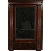 Oak 1900 Antique Classical Hall Pier Mirror, Beveled Glass