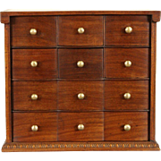 Collector or Jewelry Box, 1910 Mahogany Antique, 8 Drawers