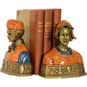 SOLD Pair of Hand Painted 1910 Bust Bookends, Signed Pompeian Bronze