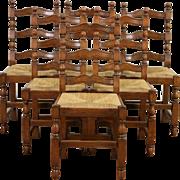 Set of 6 Scandinavian Country 1920's Antique Oak Dining Chairs, Rush Seats