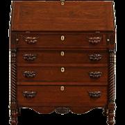 Cherry & Curly Maple New England 1830 Antique Secretary Desk, Fox Heads