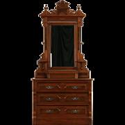Victorian Eastlake 1875 Antique Chest or Dresser, Swivel Mirror, Jewelry Box