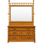 Curly Birdseye Maple Bamboo Antique 1870's Dresser with Mirror