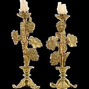 Pair Brass Grapevine Antique 1900 Candlesticks