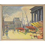 Flower Market 1940 Vintage Scandinavian Oil Painting, Signed Lynge