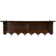 Dutch Carved Oak 1900 Wall Shelf, Coat & Hat Hooks