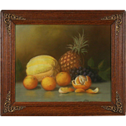 Original Pastel Chalk Fruit Still Life Picture, 1895 American Antique, Oak Frame